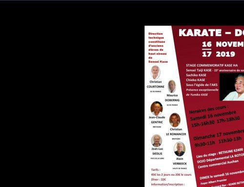 16-17 novembre 2019 Stage commémoratif KASE HA