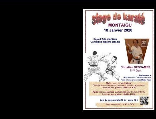 Stage de karaté avec Christian DESCAMPS, 7e dan, le samedi 18 janvier 2020 à Montaigu