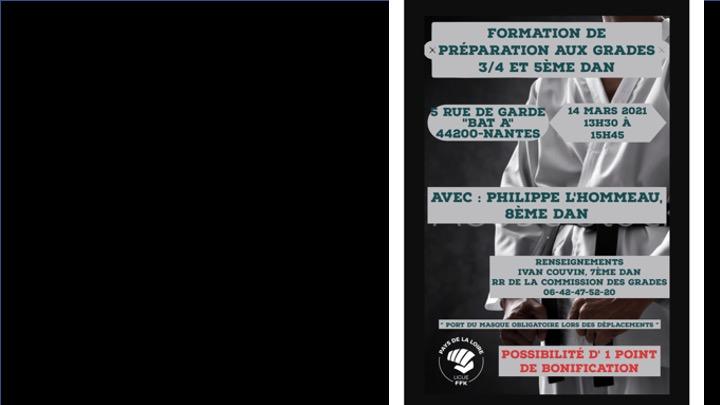 Formation candidats aux grades 3-4 et 5eme dan, organisée par la Ligue Régionale des Pays de Loire